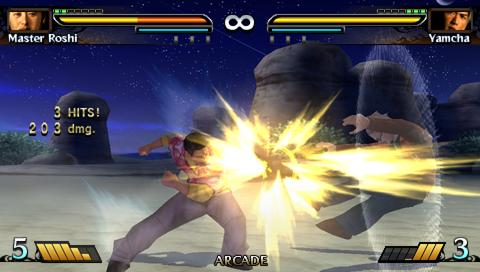 Roshi y Yamsha juego dragon ball evolution de psp